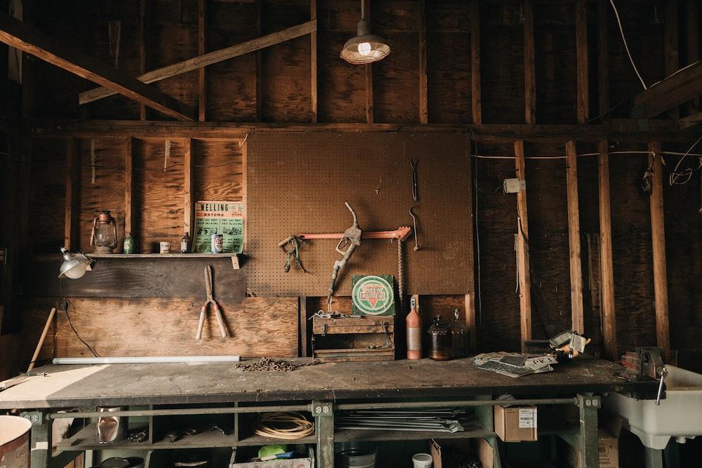 green and brown metal tool