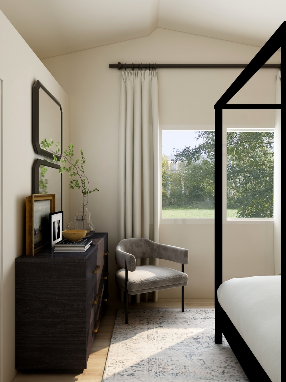 white and gray sofa chair near glass window