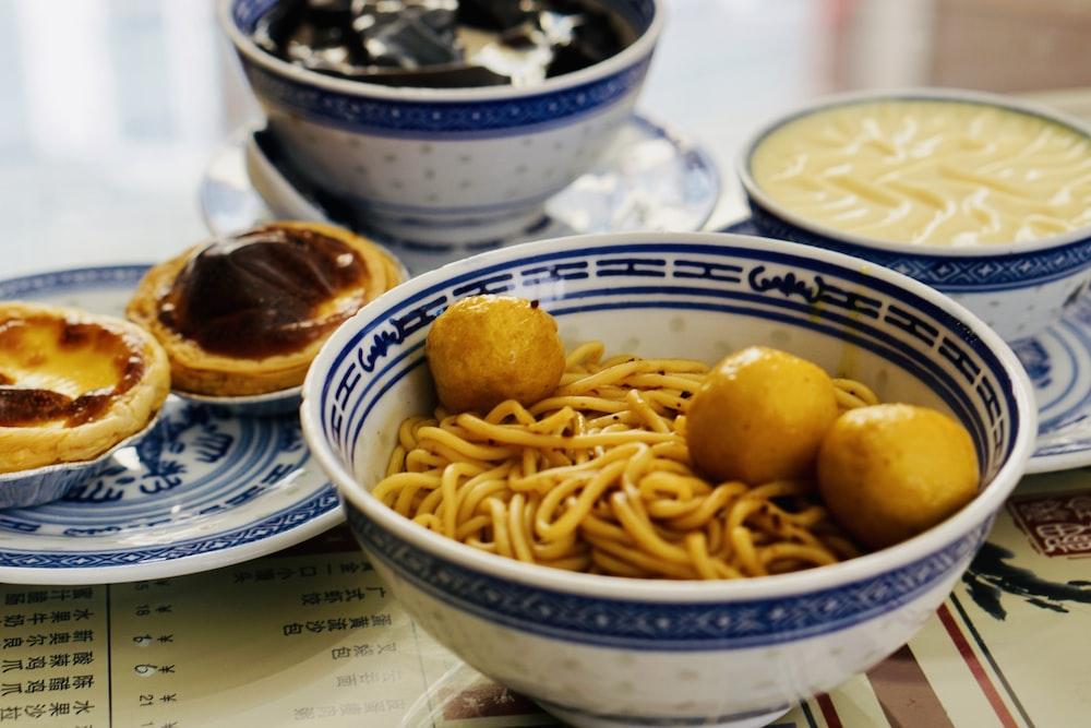 pasta on white ceramic bowl