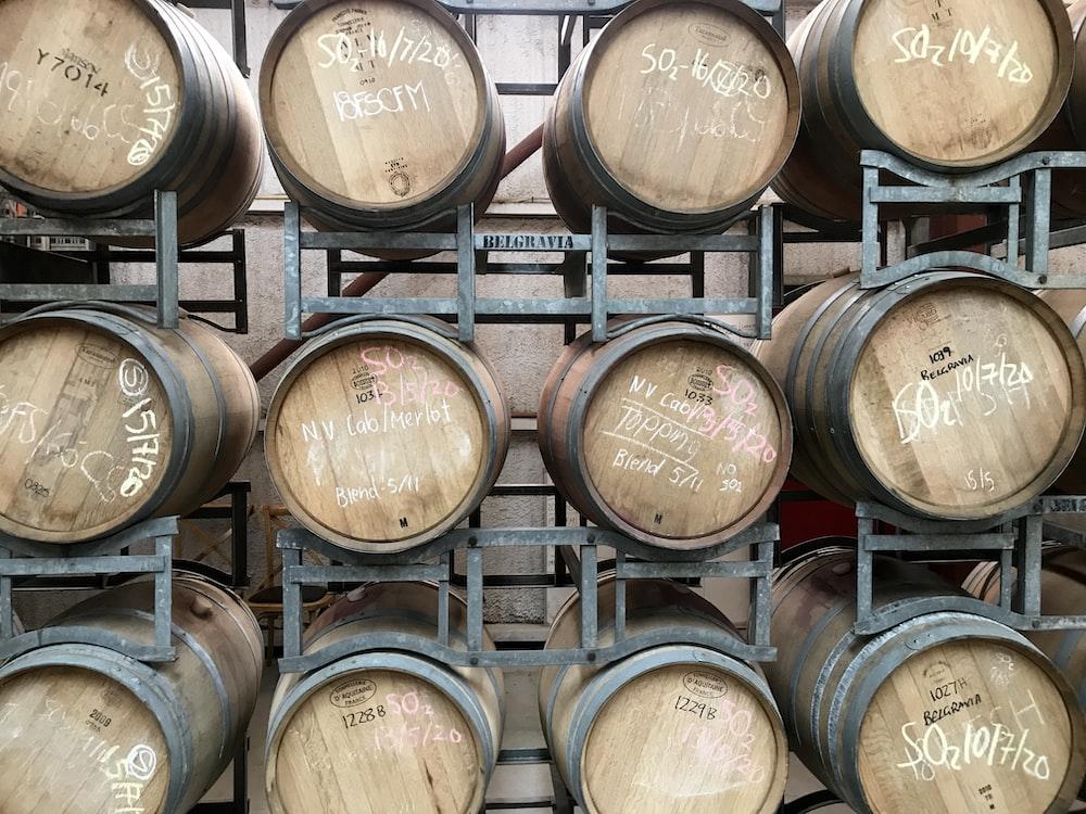 brown wooden barrels in room