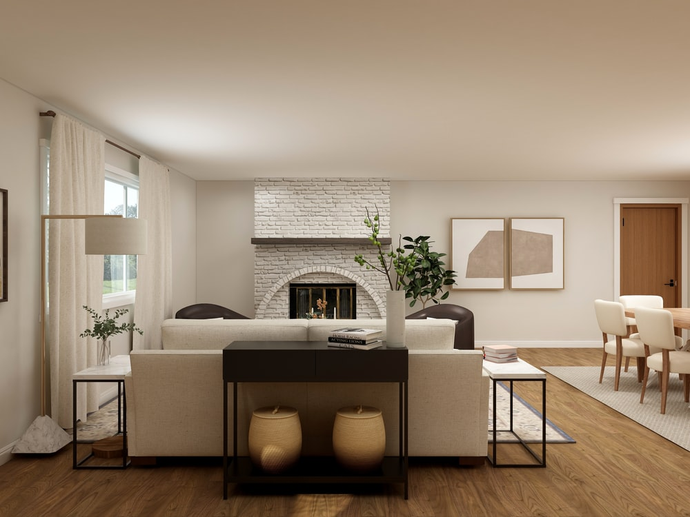 white wooden fireplace mantle with two brown wooden chairs