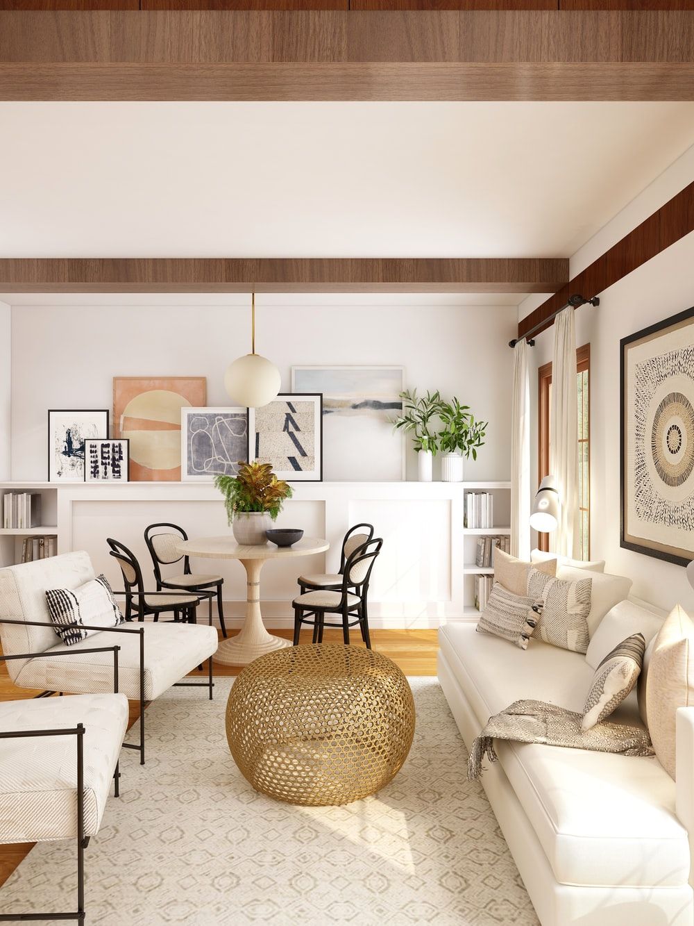 white and brown living room set