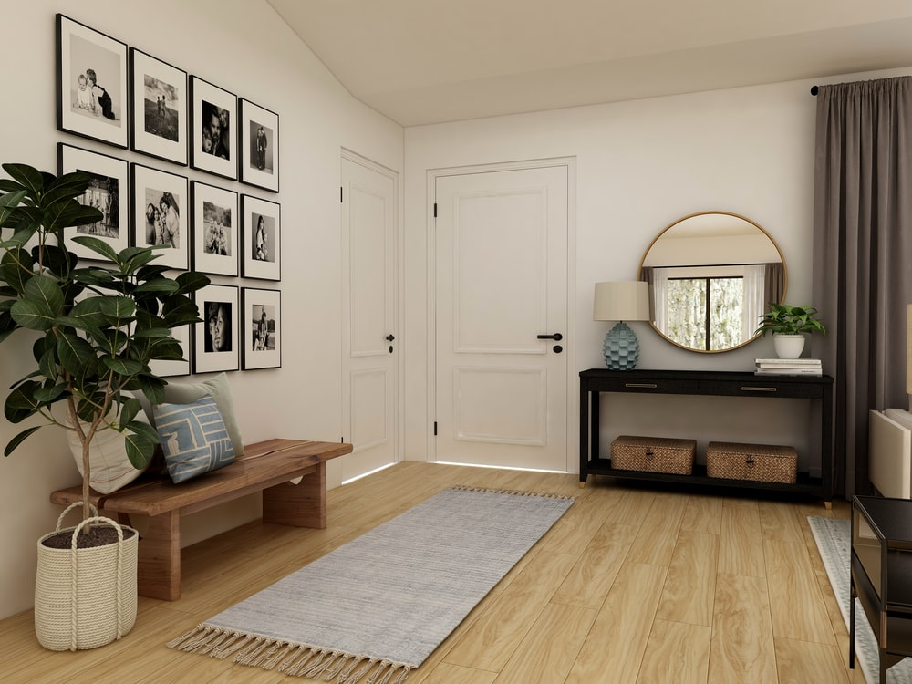 brown wooden coffee table near white wooden door