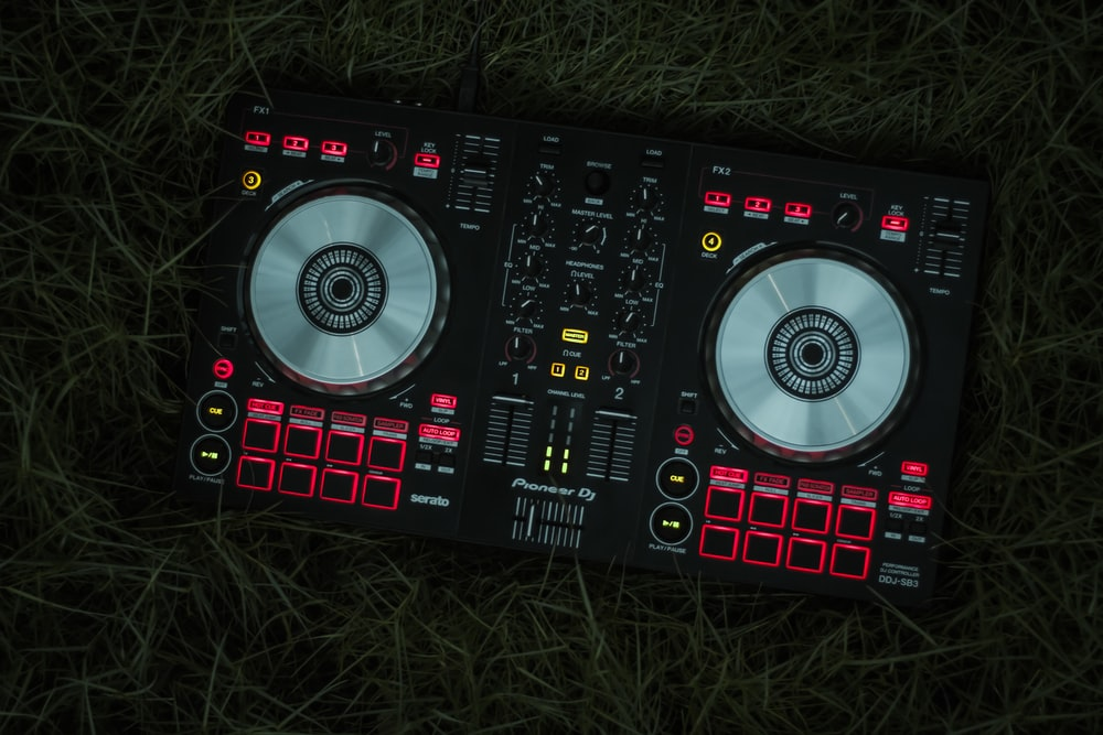 black and red dj controller
