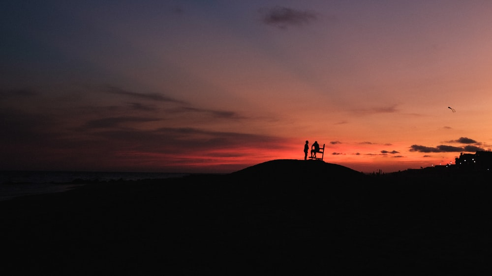 silhouette of 2 people standing on hill during sunset