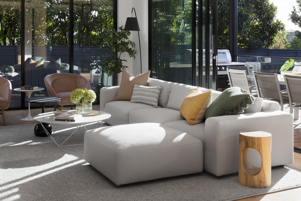 white couch and white table