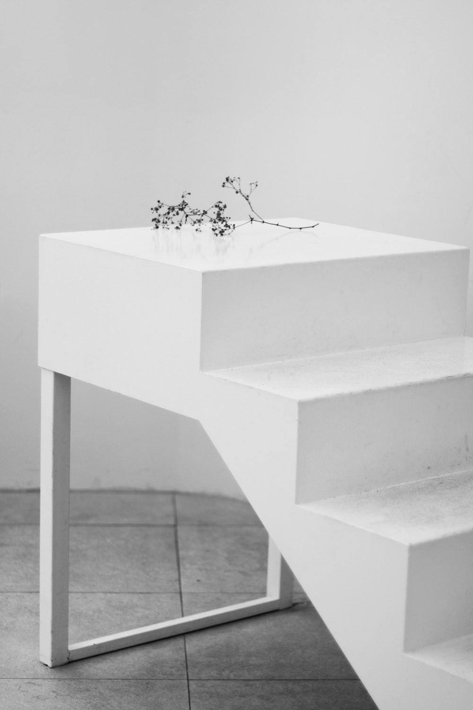 white flower on white concrete table