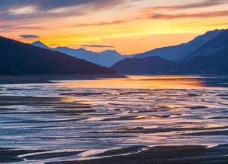 Sunset over a lake in Jasper National Park, Canada