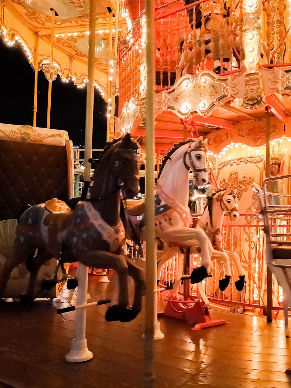 black and white horse carousel