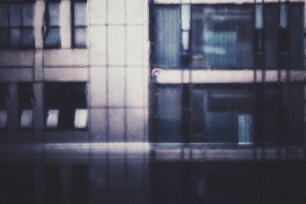 black and white checkered glass window