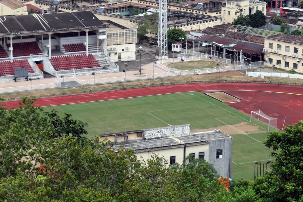 green and brown football field