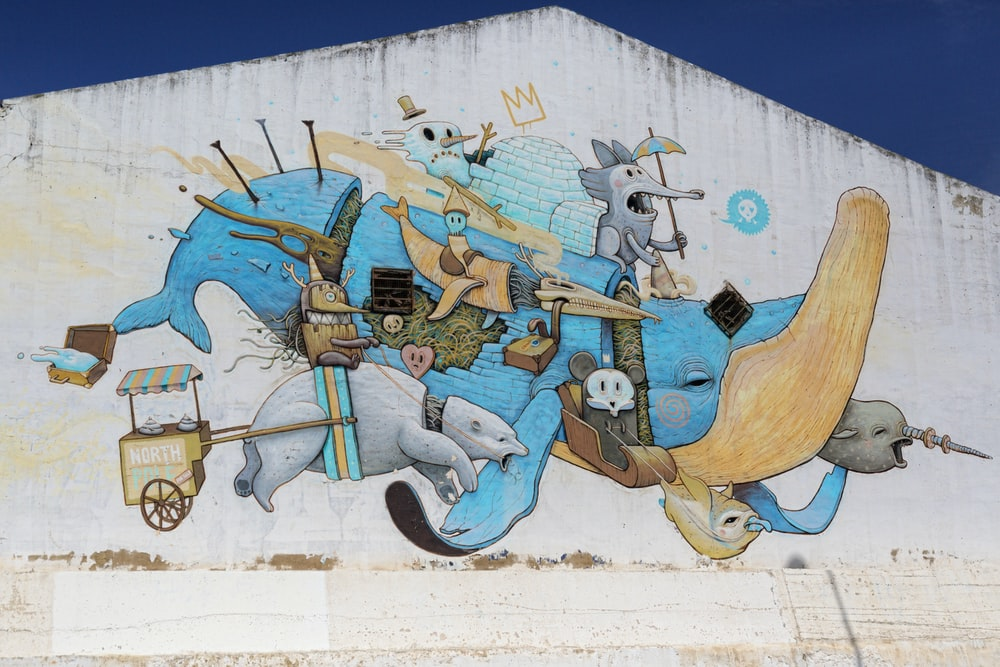 blue and brown horse wall art