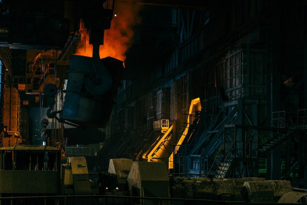 black and yellow factory smoke