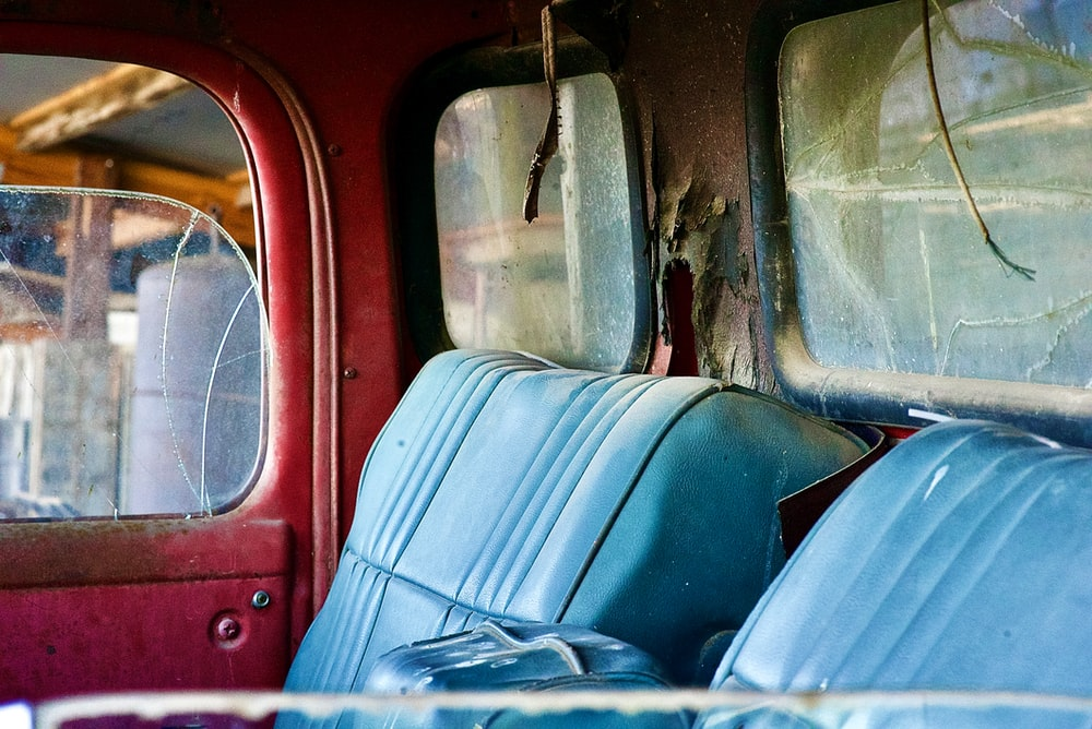 blue and red car seat