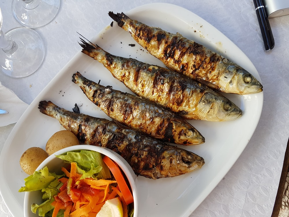 grilled fish with vegetable salad on white ceramic plate