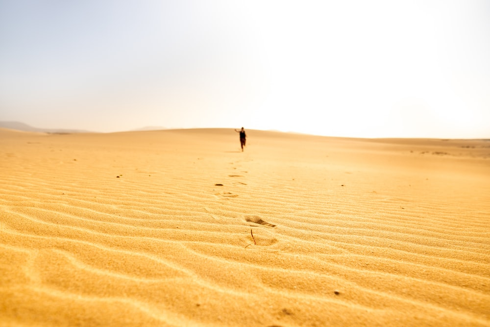 person walking on sand dunes