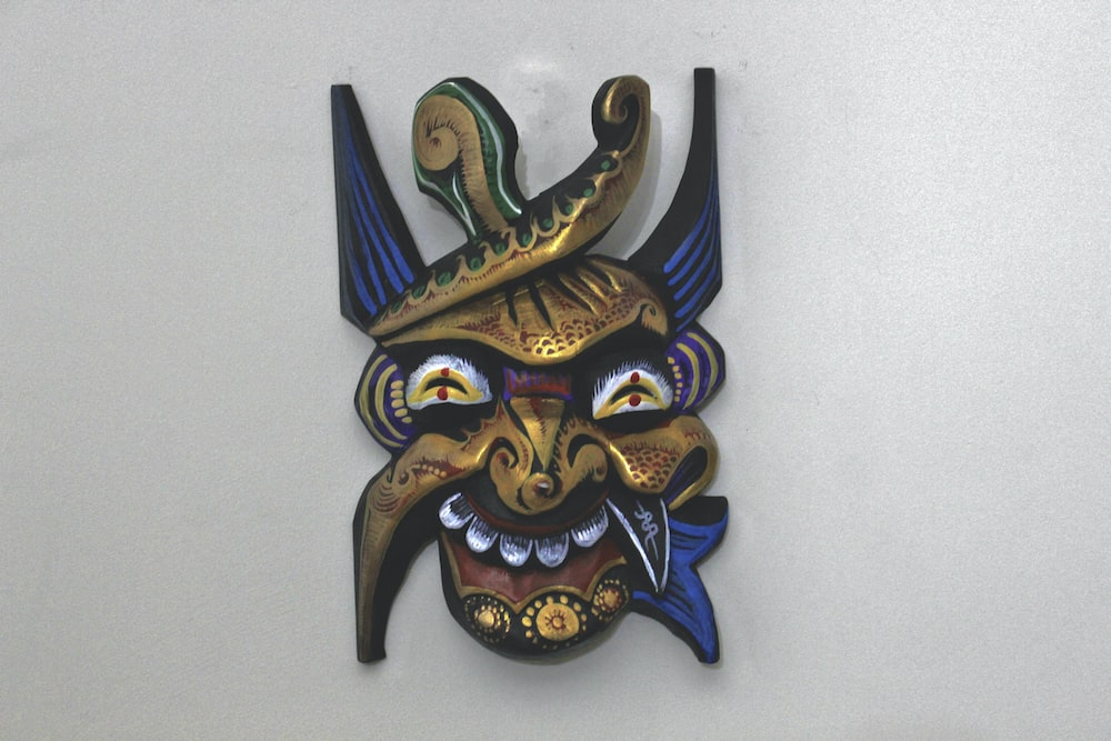 blue and gold dragon wall decor