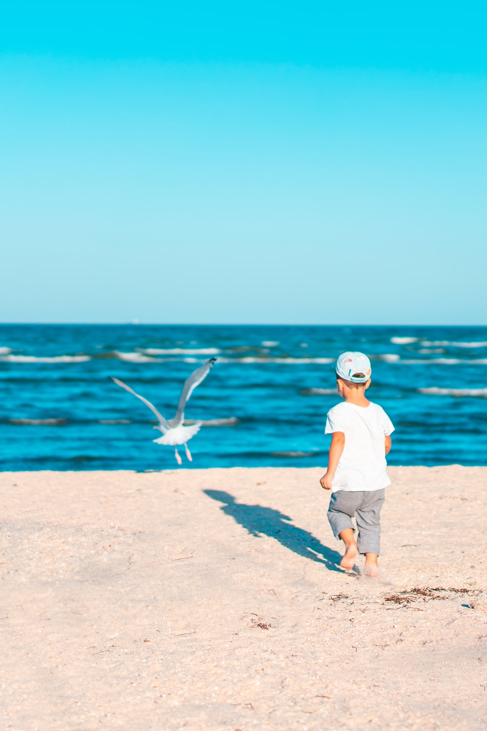 boy in white t-shirt and brown shorts standing on brown sand near body of water