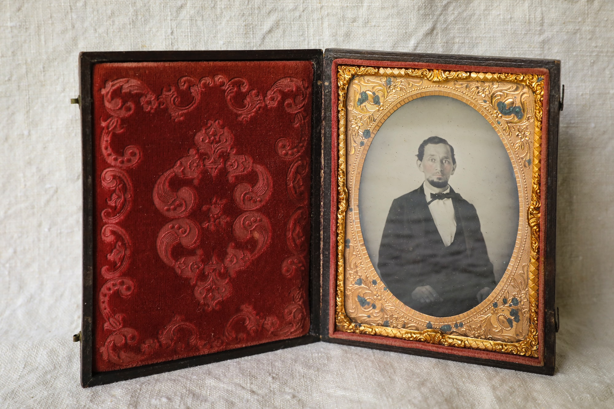 Daguerreotype of a single man found in my grandfather's office. Not sure who he is. But it is a pristine example of daguerreotypes of the era.