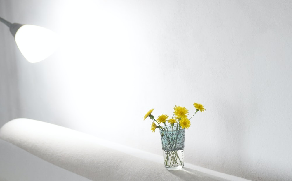 yellow flowers in clear glass vase