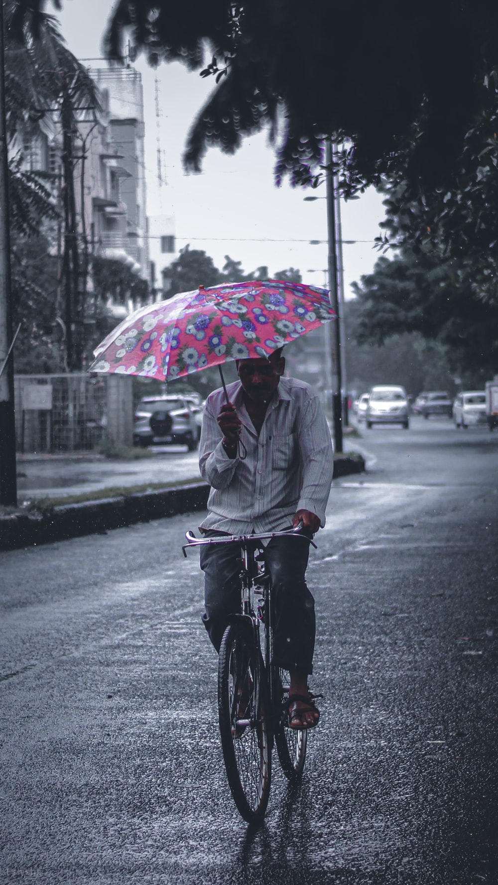 man in gray jacket riding bicycle with umbrella on road during daytime