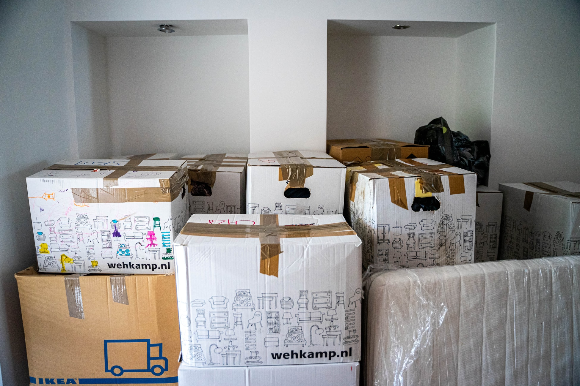 Boxes of items while moving into a new home