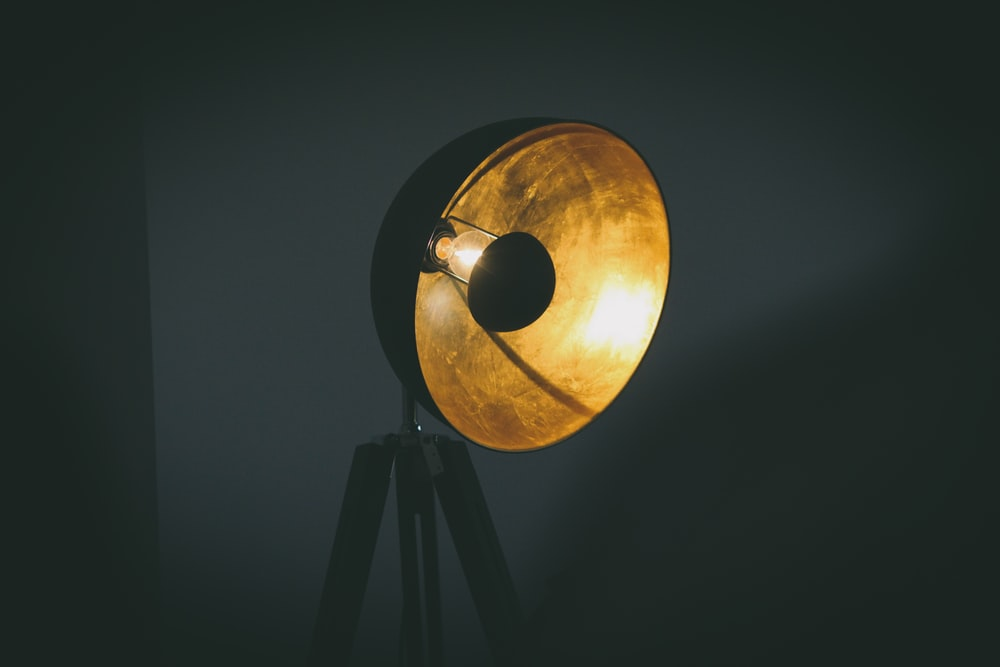 black and brown round lamp