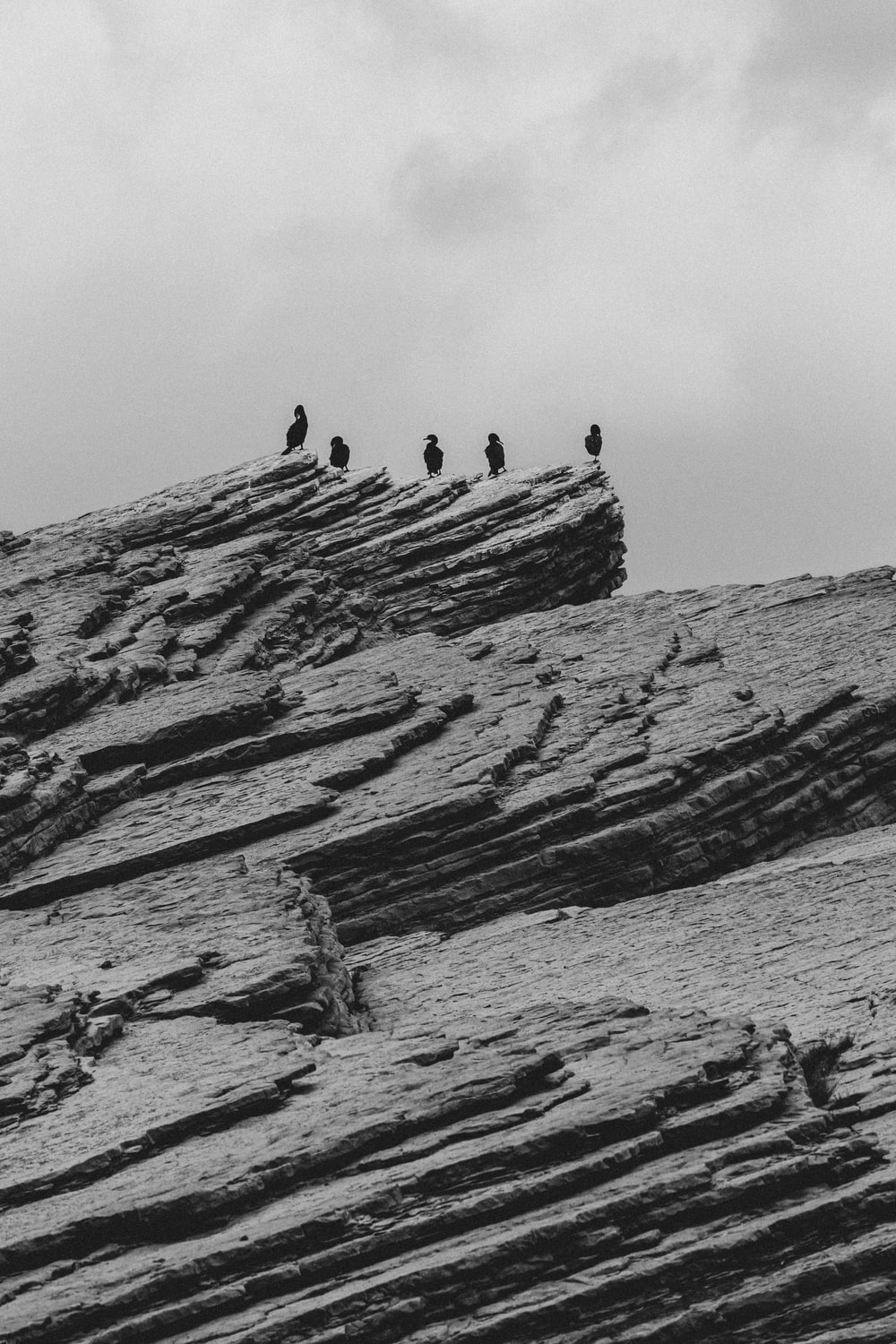grayscale photo of rock formation near body of water