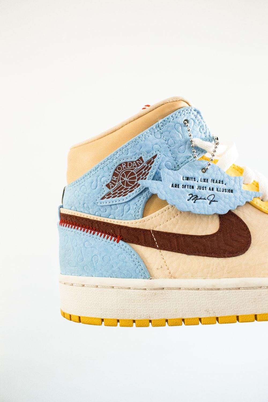 blue and white air jordan 1 shoes
