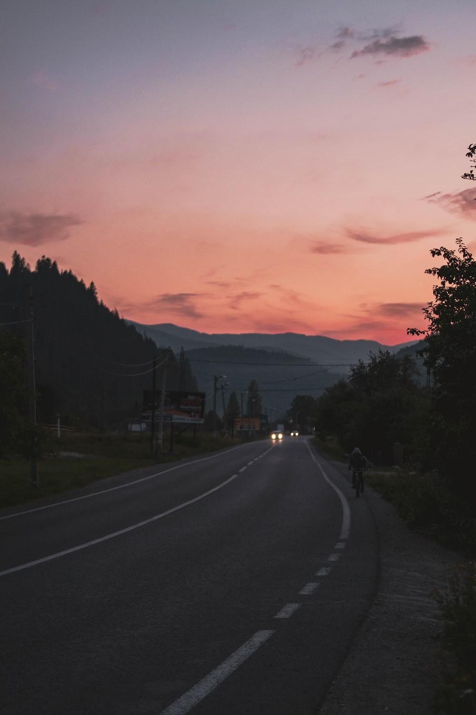 black asphalt road near green trees during sunset