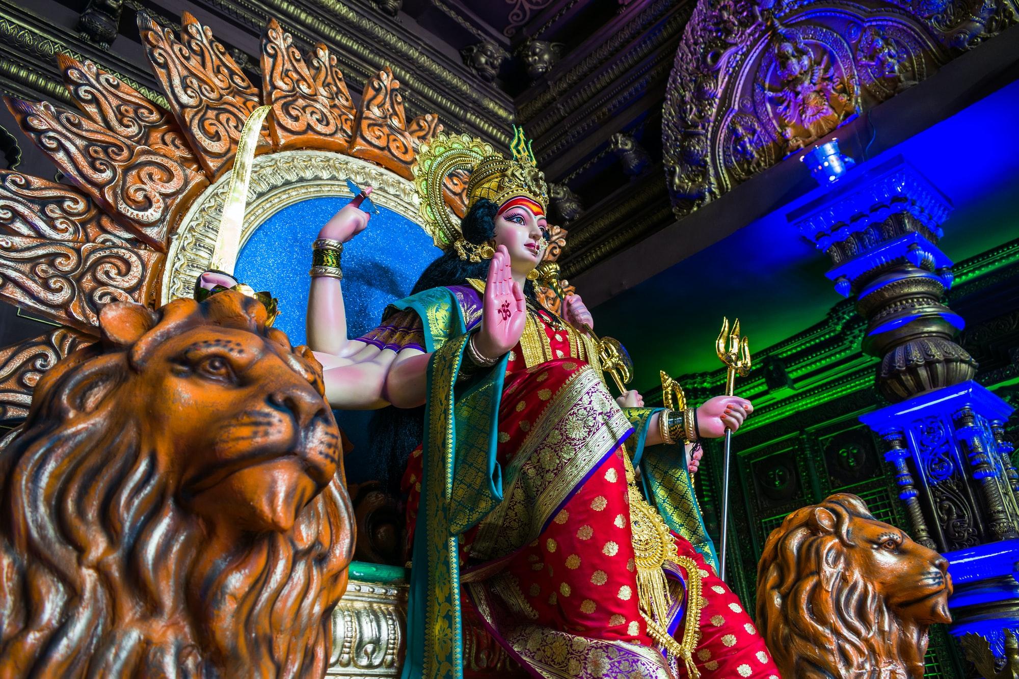 A Durga Devi temple in Mumbai, India during the festival of Navratri in 2019