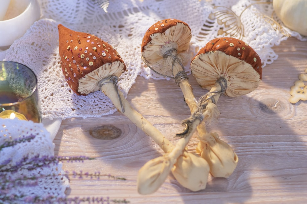 brown and white mushrooms on white textile