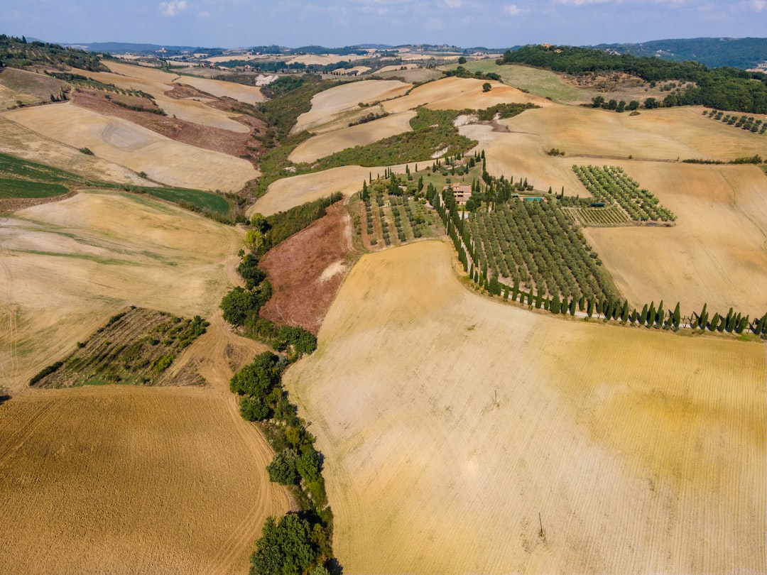 Countryside around Pienza in Tuscany in autumn, drone view.