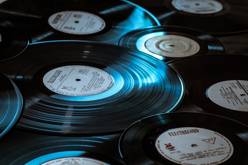 black vinyl record player in close up photography