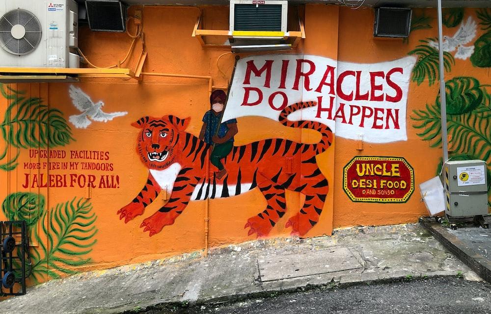 orange and black tiger graffiti