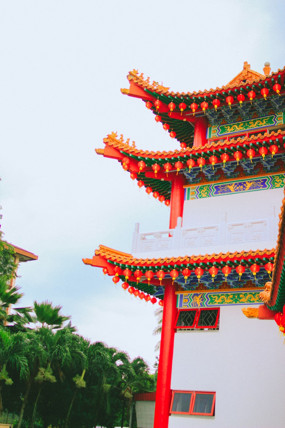red and white chinese temple