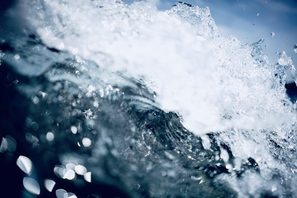 water splash in close up photography