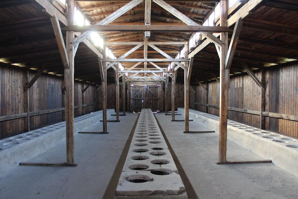 brown wooden frame on gray concrete floor