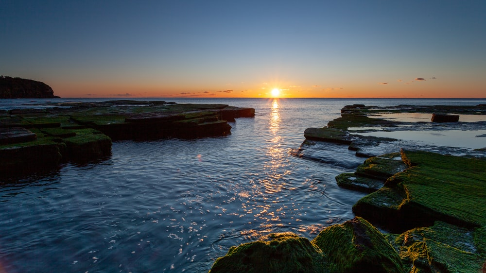 green moss on rock formation on body of water during sunset