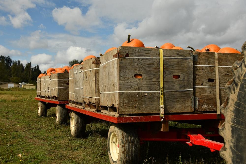 brown wooden trailer on green grass field during daytime
