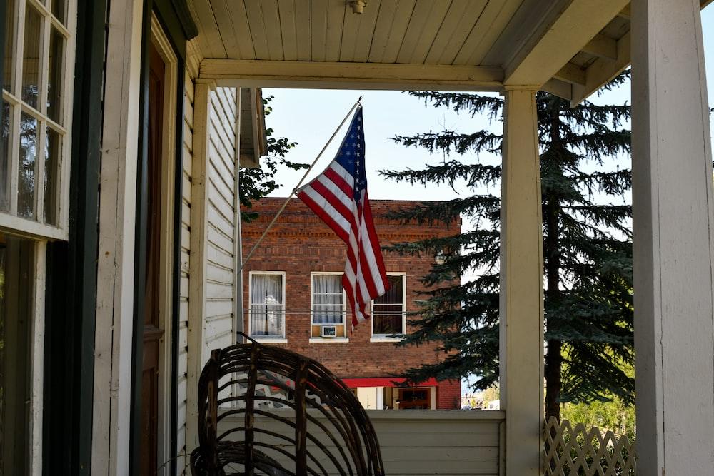 us a flag on window