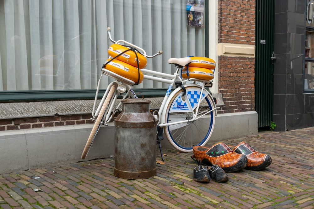 orange and silver city bicycle