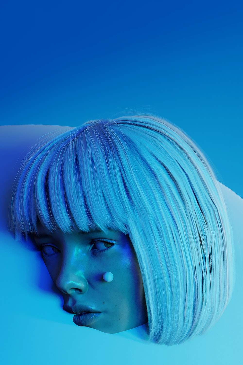 woman with blue hair looking at her left side