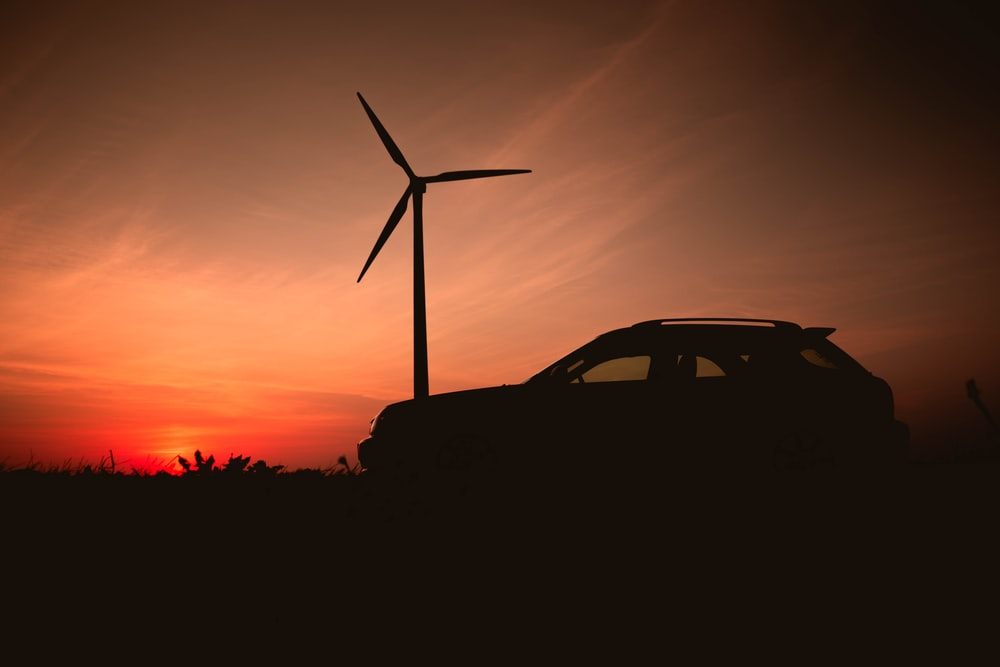 silhouette of car during sunset