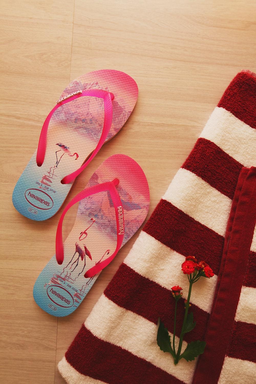 pink and white stripe flip flops