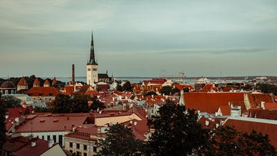 aerial view of city buildings during daytime estonia zoom background