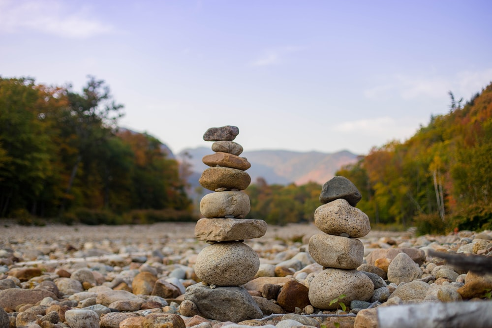 gray and brown stone stack
