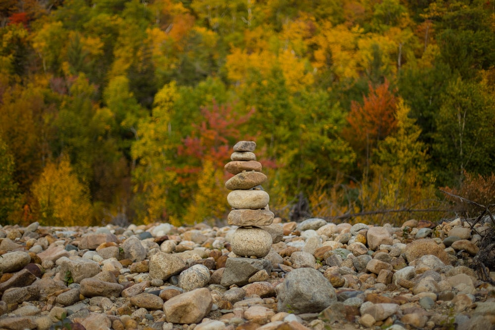 stack of stones near green trees during daytime