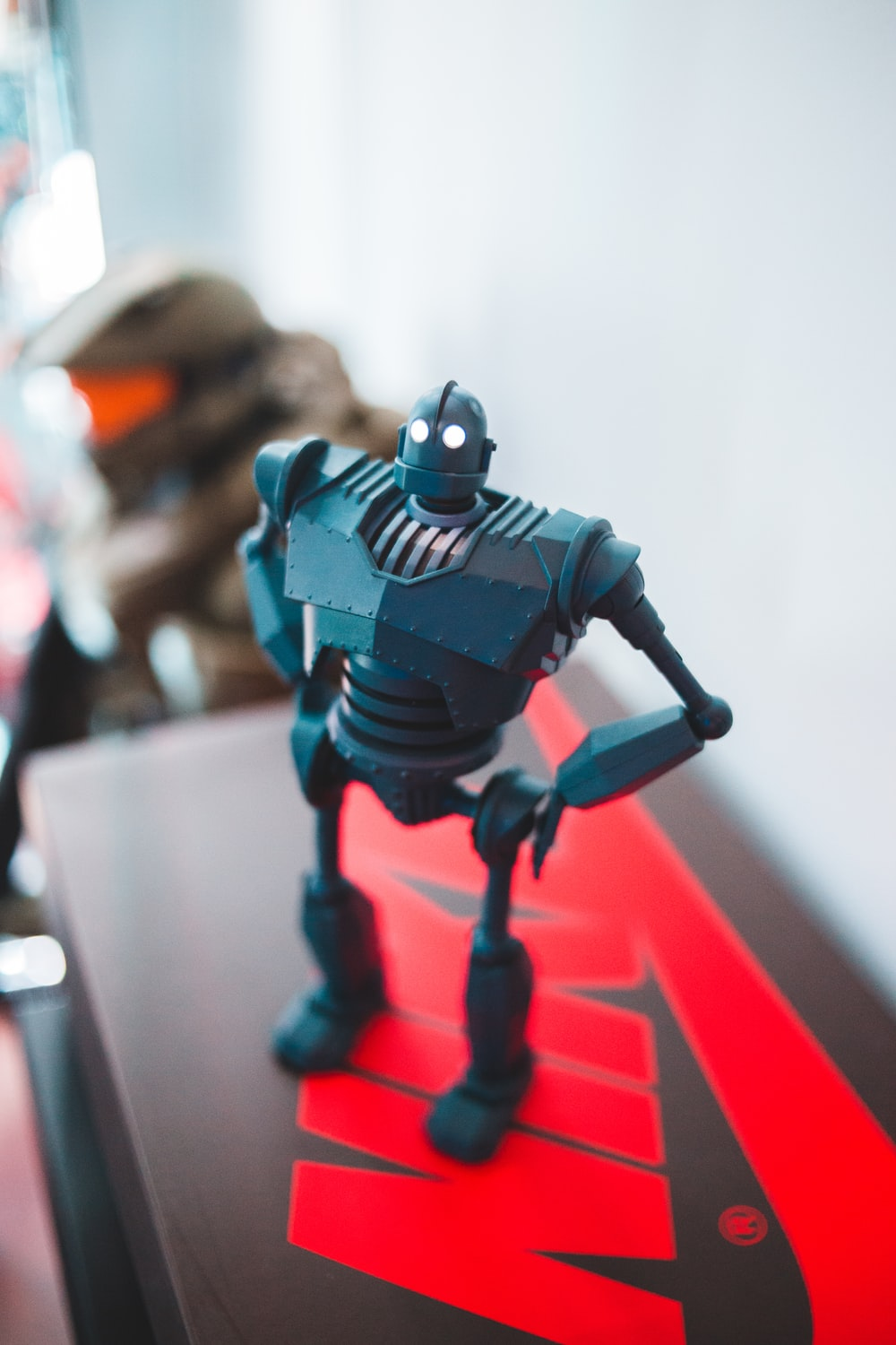 black and red robot action figure