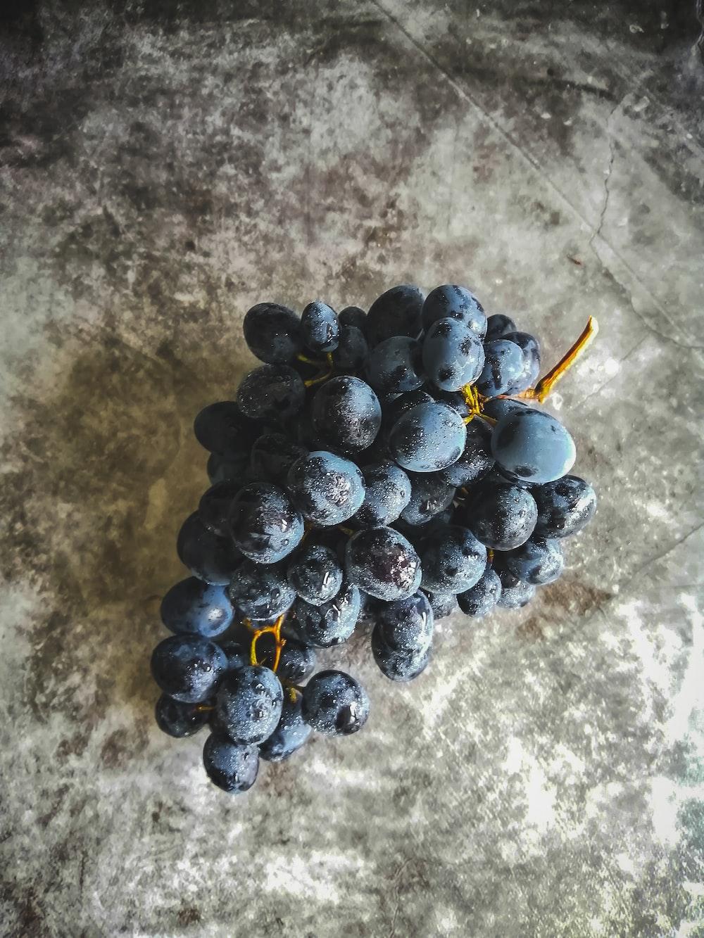 blue berries on gray concrete floor